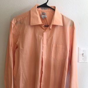 Men's collared button up shirt.